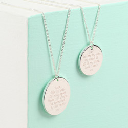 Personalised Machine Engraved Silver Disc Necklace