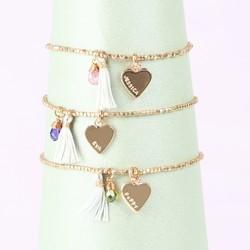 Personalised Rose Gold Birthstone Bracelet with Tassel