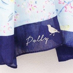 Personalised Light Blue Bird and Blossom Scarf