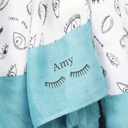Personalised White and Teal Eye Scarf