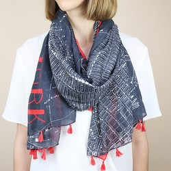 New York City Map Tassel Scarf in Red