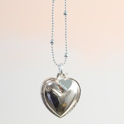 Personalised Longline 'Love is All Around You' Mixed Metal Heart Necklace