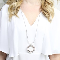 Longline Mixed Metal Double Circle Necklace