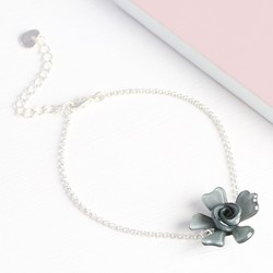 Acrylic Single Rose Bracelet in Grey
