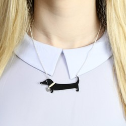Acrylic Sausage Dog Necklace