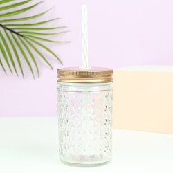Diamond Glass Drinking Tumbler with Copper Lid