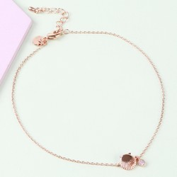 Shell and Opal Gem Anklet in Rose Gold