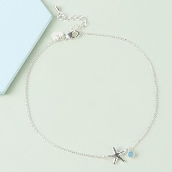 Starfish and Blue Gem Charm Anklet in Silver