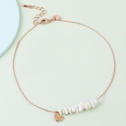 White Stone and Heart Charm Anklet in Rose Gold