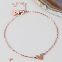 Shiny Rose Gold Heart Bracelet