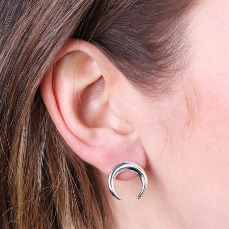 Silver Horn Stud Earrings