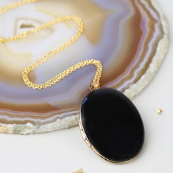 Long Black Oval Locket Necklace in Gold
