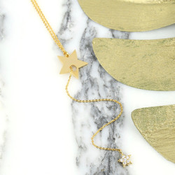 Long Double Star Lariat Necklace in Gold