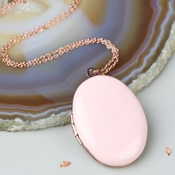 Long Pink Oval Locket Necklace in Rose Gold