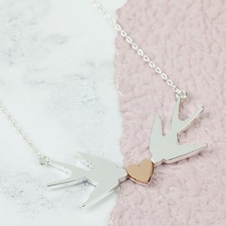 Mixed Metal Swallows Heart Necklace