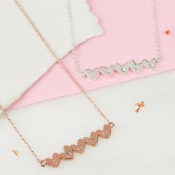 Personalised Shiny Bar of Hearts Necklace