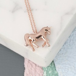Rose Gold Unicorn Pendant Necklace