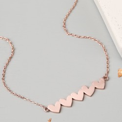 Shiny Rose Gold Bar of Hearts Necklace