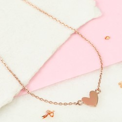 Shiny Rose Gold Heart Pendant Necklace