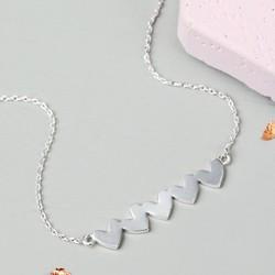 Shiny Silver Bar of Hearts Necklace