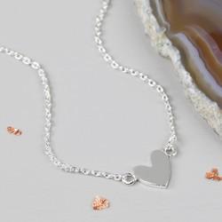 Shiny Silver Heart Pendant Necklace