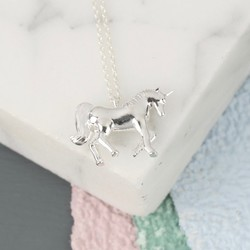 Silver Unicorn Pendant Necklace