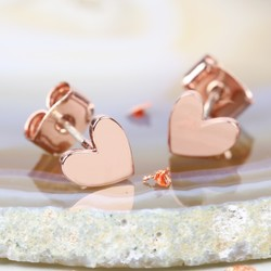 Shiny Rose Gold Heart Stud Earrings