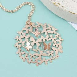Filigree Butterfly Pendant Necklace in Rose Gold