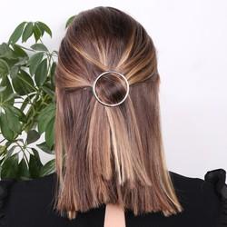 Open Circle Hair Clip in Silver