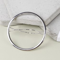 Open Circle Hair Clip in Silver