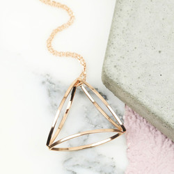 Rose Gold 3D Geometric Pendant Necklace