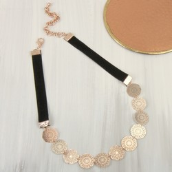 Rose Gold Filigree Disc Velvet Necklace