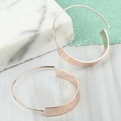 Rose Gold Flat Bar Hoop Earrings