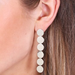 Silver Disc Feature Drop Stud Earrings