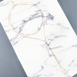 Snake Chain Lariat Necklace in Rose Gold