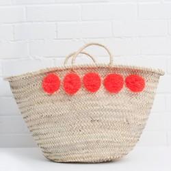 Large Pom Pom Wicker Basket