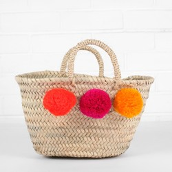 Medium Pom Pom Wicker Basket