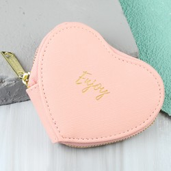 'Enjoy' Heart Purse in Coral