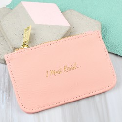 'I must Resist' Coin Purse in Pink