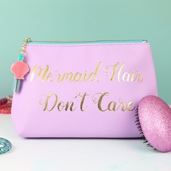 'Mermaid Hair Don't Care' Make Up Bag