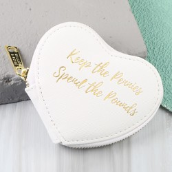 'Keep The Pennies' Heart Purse in White