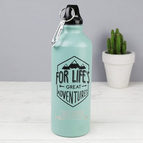 Personalised Aluminium 'Life's Great Adventures' 500ml Travel Bottle
