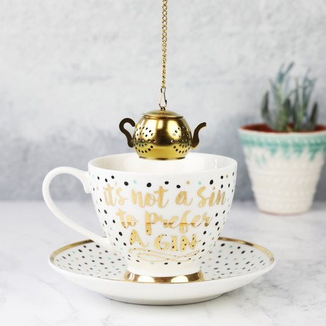 Polka Dot Tea Cup and Infuser Set