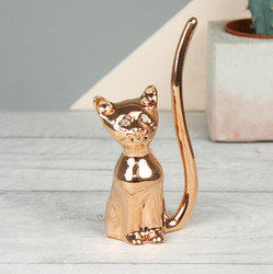 Rose Gold Cat Ring Holder