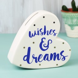 Wishes and Dreams Ceramic Heart Money Box