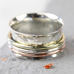 Mixed Metal & Sterling Silver Hammered Effect Spinning Ring