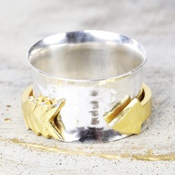 Sterling Silver and Gold Arrow Hammered Effect Spinning Ring