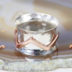 Sterling Silver and Rose Gold Chevron Hammered Effect Spinning Ring