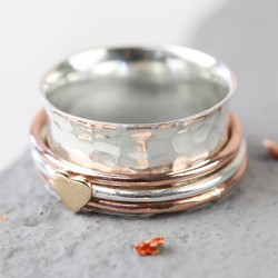 Sterling Silver & Rose Gold Heart Spinner Ring