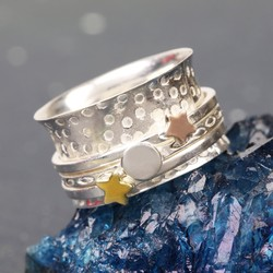 Sterling Silver Mixed Metal Stars and Moon Spinning Ring